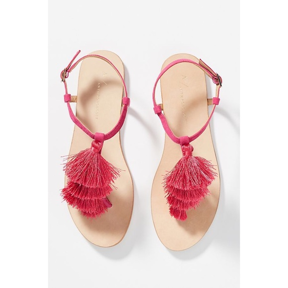 02ee79422c484 NWB Anthropologie Anora Hot Pink Tasseled Sandals